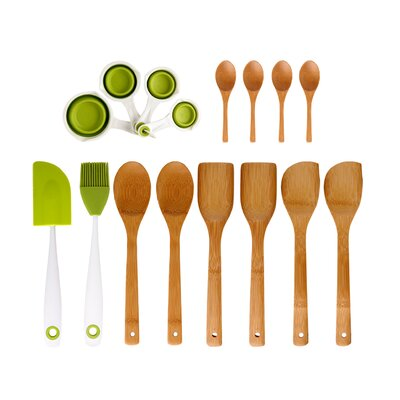 Dexas Utensil Set Bamboo / Silicone Measuring Cup (16 Piece)