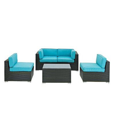 Modway Camfora 5 Piece Deep Seating Group with Cushions