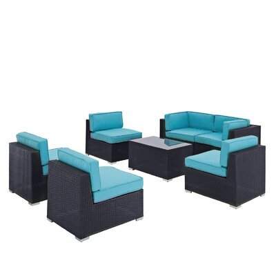 Modway Aero 7 Piece Deep Seating Group with Cushions