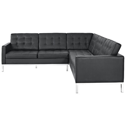 Modway Loft Leather L Shaped Sectional Sofa