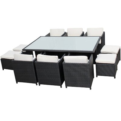 Modway Reversal Outdoor 11 Piece Dining Set with Cushions