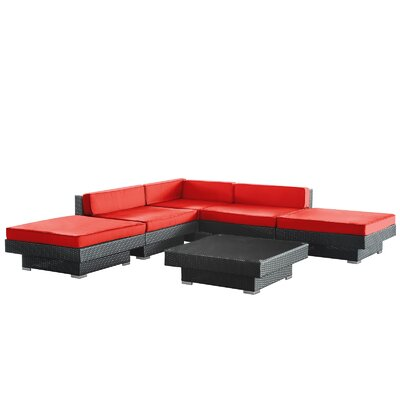 Modway Luxury 6 Piece Outdoor Patio Sectional Set