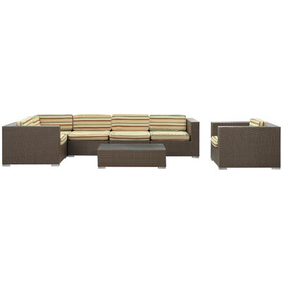 Modway Corona 7 Piece Sectional Deep Seating Group with Cushions