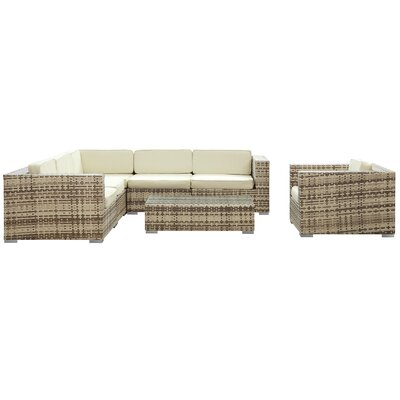 Modway Crown 7 Piece Outdoor Patio Sectional Set