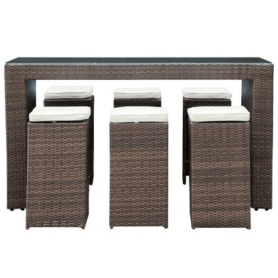 Modway Cubed 7 Piece Pub Dining Set with Cushions