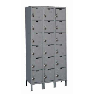 Hallowell ReadyBuilt Three Wide Six Tier Locker in Hallowell Gray