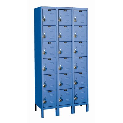 Hallowell ReadyBuilt Three Wide Six Tier Locker in Marine Blue (Quick Ship)