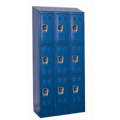 Hallowell ReadyBuilt II Three Wide Triple Tier Locker in Marine Blue (Assembled)