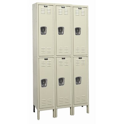 Hallowell Galvanite Locker Double Tier 3 Wide (Assembled)
