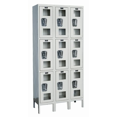 Hallowell Safety-View Stock Lockers - Triple Tier - 3 Sections (Unassembled)