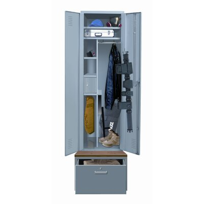Hallowell TaskForceXP One Wide Single Tier Locker with Pedestal Base in Hallowell Gray (Assembled)