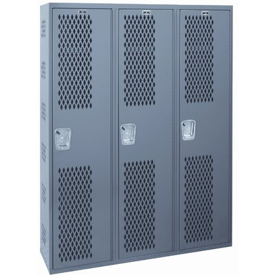 Hallowell Welded Single-Point Ventilated Locker Single Tier 3 Wide (Quick Ship)