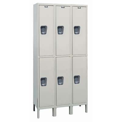 Hallowell Maintenance-Free Quiet Stock Lockers - Double Tier - 3 Sections (Assembled)