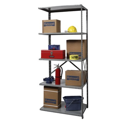 Hallowell Hi-Tech Shelving Extra Heavy-Duty Open Type Add-on Unit with 5 Shelves