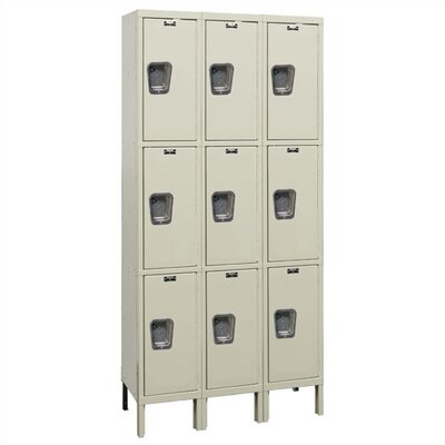 Hallowell Maintenance-Free Quiet Stock Lockers - Triple Tier - 3 Sections (Assembled)