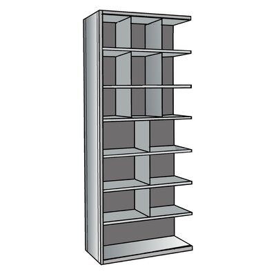 "Hallowell Hi-Tech Metal Bin Shelving Add-on Unit (9) 12"" W x 12"" H, (6) 18"" W x 12"" H, (1) 36"" W x 12"" H Bins"