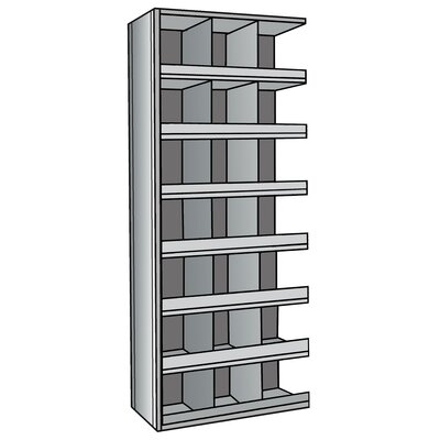 "Hallowell Hi-Tech Metal Bin Shelving Add-on Unit (21) 12"" W x 12"" H Bins with 3"" Bin Fronts"