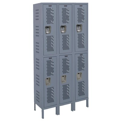 Hallowell Heavy-Duty Ventilated 3-Wide Double Tier Locker (Unassembled) (Quick Ship)