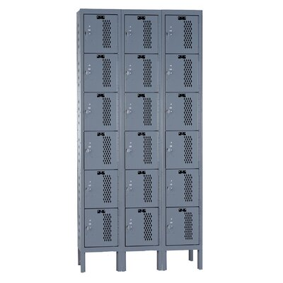 Hallowell Heavy-Duty Ventilated 3-Wide 6-Tier Locker (Unassembled)