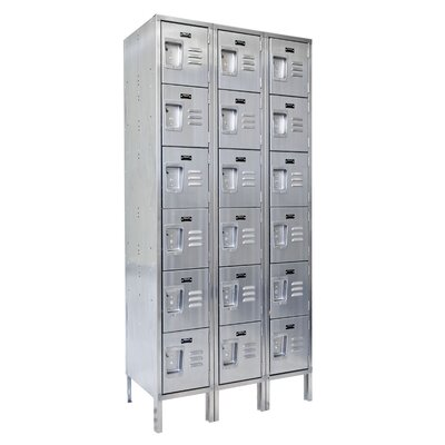Hallowell 304 Stainless Steel Locker 6 Tier 3 Wide (Assembled)
