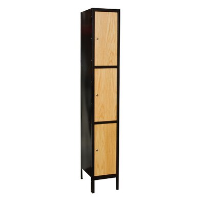 Hallowell Metal-Wood Hybrid Locker Triple Tier 1 Wide (Assembled) (Quick Ship)