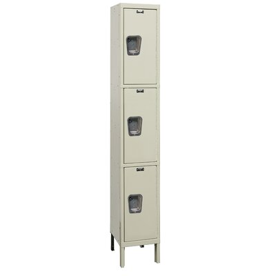 Hallowell Maintenance-Free Quiet Stock Lockers - Triple Tier - 1 Section (Assembled)