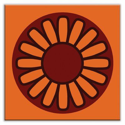 "Oscar & Izzy Folksy Love 6"" x 6"" Satin Decorative Tile in Floral Wheel Orange"