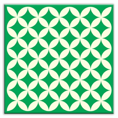 "Oscar & Izzy Folksy Love 6"" x 6"" Satin Decorative Tile in Needle Point Green"