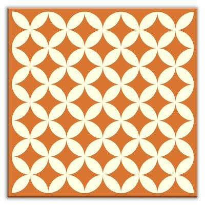 "Oscar & Izzy Folksy Love 6"" x 6"" Satin Decorative Tile in Needle Point Orange"