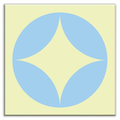 "Oscar & Izzy Folksy Love 4-1/4"" x 4-1/4"" Satin Decorative Tile in Peek Light Blue-Yellow"