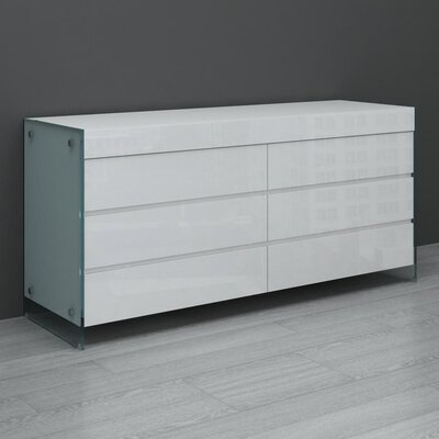 Casabianca Furniture II Vetro 6 Drawer Dresser