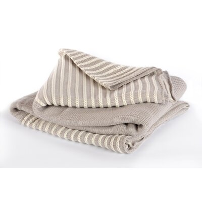 Berkshire Blanket Luxe Boutique Cotton Acrylic Striped Knit Throw
