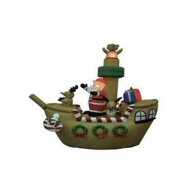 BZB Goods 8' Christmas Inflatable Santa Claus on Pirate Ship