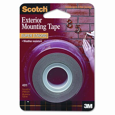 3M Exterior Weather-Resistant Double-Sided Tape, 1 x 60, Gray with Red Liner