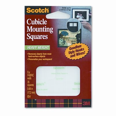 3M Removable Cubicle Mounting Squares, Precut 11/16 Squares, 35 Squares/pack