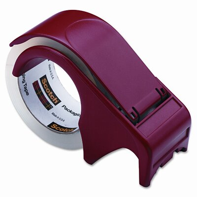 3M Handheld Packaging Tape Dispenser, 3&quot; core, Heavy Duty Plastic, Red                                                          