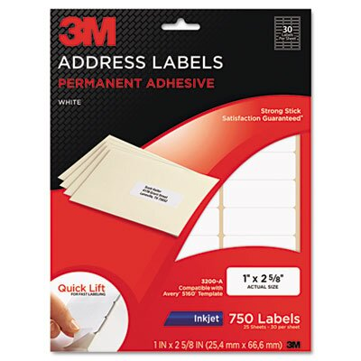 3M Permanent Adhesive White Inkjet Mailing Labels, 750/Pack