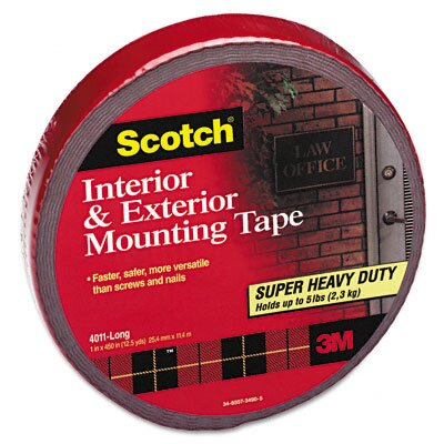 3M Exterior Weather-Resistant Double-Sided Tape, 1 x 450, Gray with Red Liner