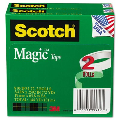 "3M Magic Tape, 3/4 x2592, 3"" Core, 2 Rls"