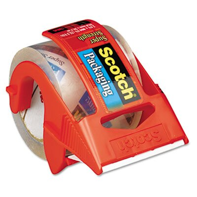 "3M Packaging Tape in Dispenser, 2"" x 22 Yards, Clear, Six per Box"