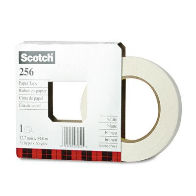 "3M 256 Printable Flatback Paper Tape, 1/2"" x 20 Yards, 3"" Core"