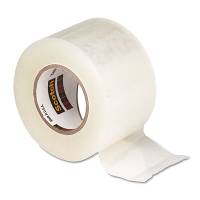 "3M Tear-By-Hand Packaging Tape, 2"" x 50 Yards, 1-1/2"" Core, Clear, Four/Box"
