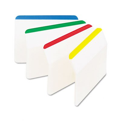 3M Hanging File Tabs, Blue/Green/Red/Yellow, 6 Flags/Color, 24 Flags/Pack
