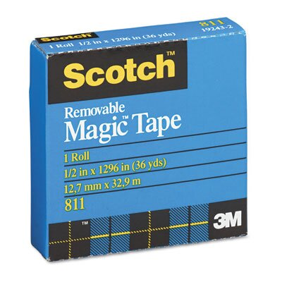 """3M Removable Tape, 1/2"""" x 36 Yards, 1"""" Core"""