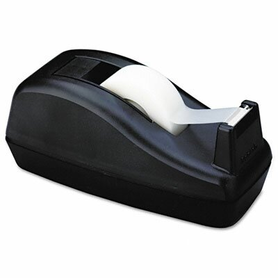 "3M Deluxe Desktop Tape Dispenser, Attached 1"" core, Heavily Weighted, Black"