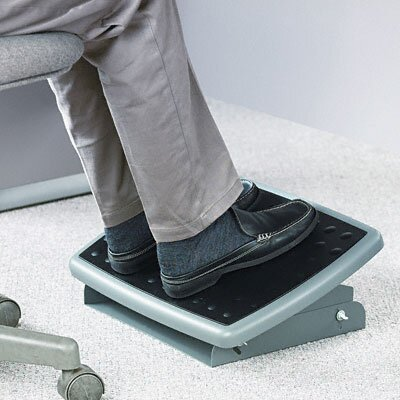 3M Adjustable Height/Tilt Steel Footrest, Nonskid Platform, Charcoal Gray