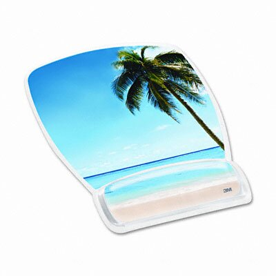 3M Gel Mouse Pad with Wrist Rest, Beach Design