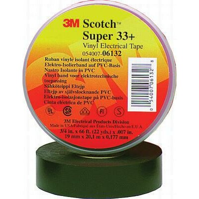 "3M 3/4"" X 66' Black Super 33+ Vinyl Electrical Tape"