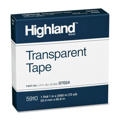 "3M Transparent Tape, 1""x2592, 3"" Core, Clear"