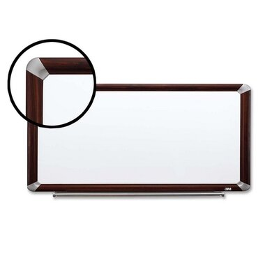 3M Dry-Erase Board,w/Marker/Accessory Tray,8'x4',Mahogany